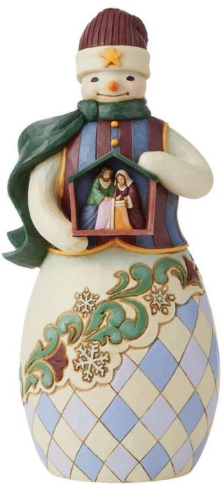 Jim Shore 6009402 Snowman Holding Nativity Figurine
