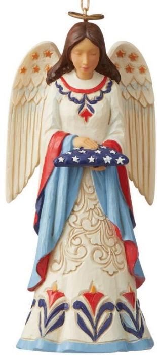 Jim Shore 6009454N Patriotic Angel and Flag Ornament