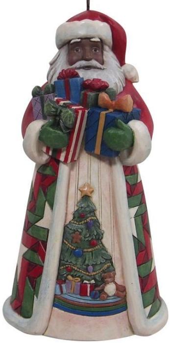 Jim Shore 6009464 Black Santa Arms Full Ornament