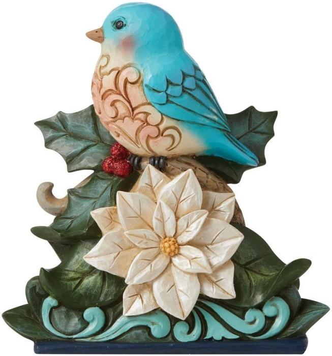 Jim Shore 6009484 Wonderland Bluebird On Poinsettia Figurine