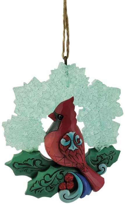 Jim Shore 6009490N Wonderland Cardinal Snowflake Ornament