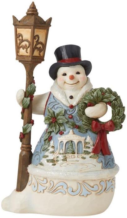 Jim Shore 6009494N Victorian Snowman At Lamppost Figurine