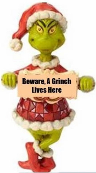 Jim Shore Grinch 6009535N Beware a Grinch Lives Here Ornament