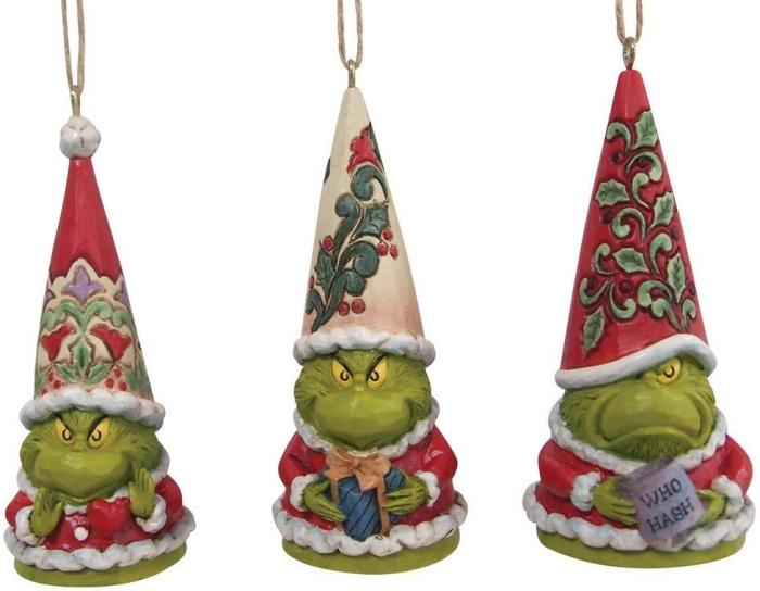 Jim Shore 6009537N Grinch Gnome Ornaments Set of 3