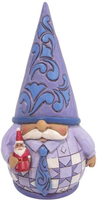 Jim Shore 6009583N Purple Gnome With Santa Figurine