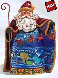 Jim Shore 831 Fly Away Tiny Sleigh with Reindeer Santa