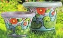 Jim Shore 4012621 Flower and Swirl Pattern Planter