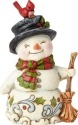 Jim Shore 6001496 Mini Snowman Broom Figurine