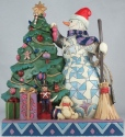 Jim Shore 6002731 Snowman Trimming Tree Figurine
