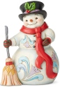 Jim Shore 6004142 Snowman Broom & Scarf Figurine