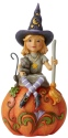 Jim Shore 6006702N Witch On Pumpkin Figurine
