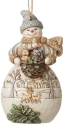 Jim Shore 6008868N Woodland Snowman and Basket Ornament