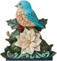 Jim Shore 6009484N Wonderland Bluebird On Poinsettia Figurine