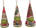 Jim Shore 6009537N Grinch Gnome Ornaments Set of 3