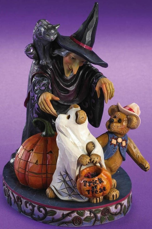Boyds Bears by Jim Shore 4016472 Witch With Cat & 2 Bears Figurine