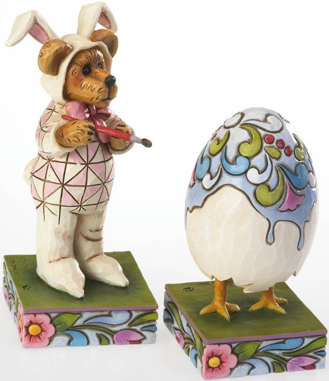 Boyds Bears by Jim Shore 4021398 Bunny Bear Painting Egg 2 Pieces Figurine