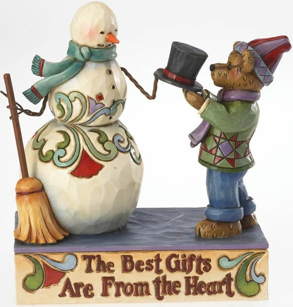 Boyds Bears by Jim Shore 4022304 Snowman and Bear Holding Hat Figurine