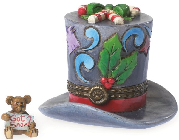 Boyds Bears by Jim Shore 4041914 Top Hat w Holly Trinket Box