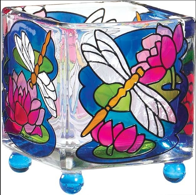 Joan Baker Designs CCM1014I Dragonfly Water Lilies Candleware 1 EACH