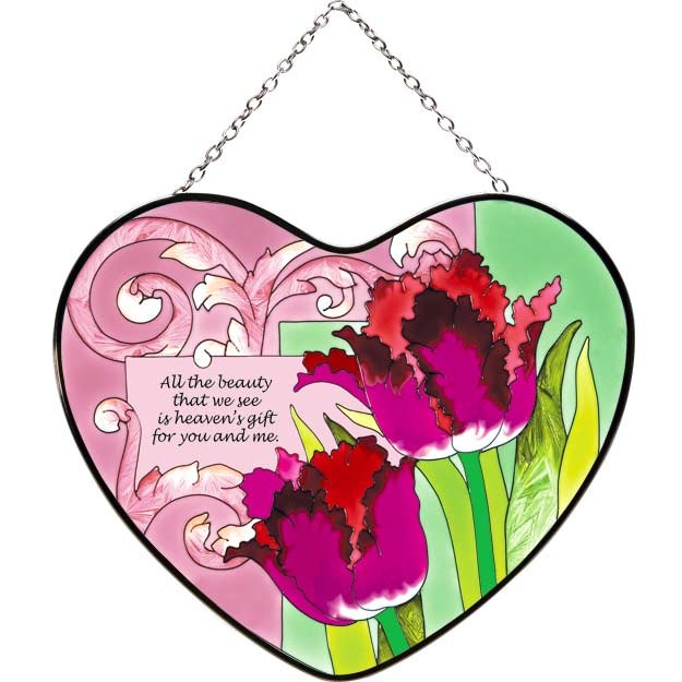 Joan Baker Designs LH125 Tulips Large Heart Suncatcher