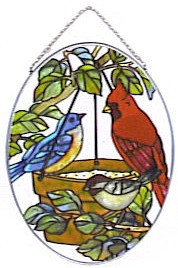 Joan Baker Designs MO100 Birds of a Feather Medium Oval Suncatcher