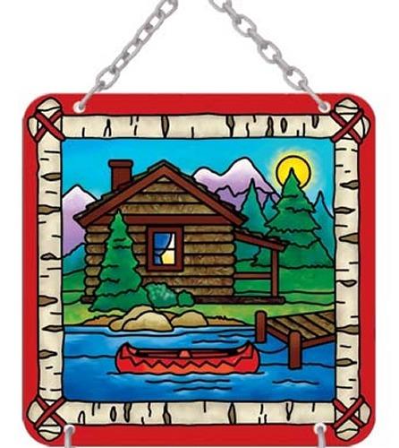 Joan Baker Designs SFS4008 Cabin & Canoe Sign for Suncatcher