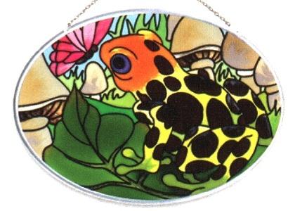 Joan Baker Designs SO475 Frog & Butterfly Small Oval Suncatcher
