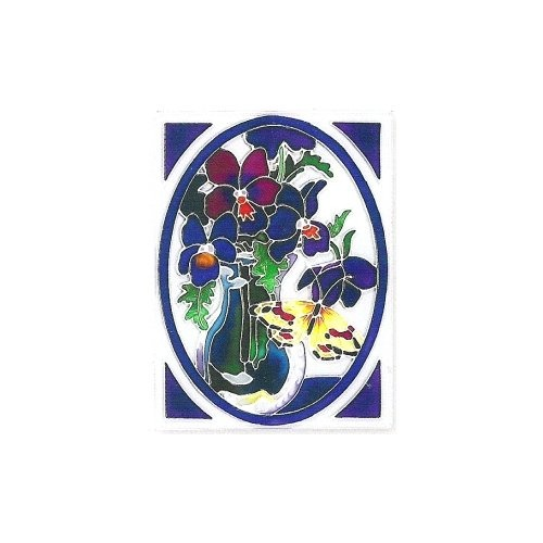 Joan Baker Designs TWA46004 Butterfly & Violets Tile