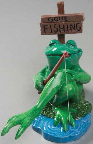 Kitty's Critters 8725 Gone Fishing Frog Frog