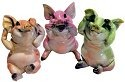Kitty's Critters 8161 No Evil Pig Coll 3 pc Figurine Pig