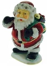 Kubla Crafts Bejeweled Enamel KUB 0-3058 Santa Box