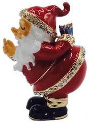 Kubla Crafts Bejeweled Enamel KUB 0-3074 Santa Box