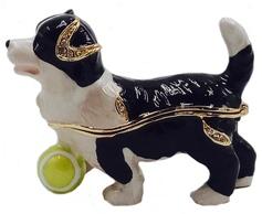 Kubla Crafts Bejeweled Enamel KUB 0-3084 Puppy with Ball Box