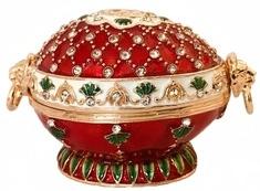 Kubla Crafts Bejeweled Enamel KUB 0-3117 Victorian Red Egg Box