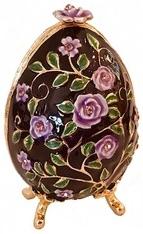 Kubla Crafts Bejeweled Enamel KUB 0-3119 Egg Box with Flower
