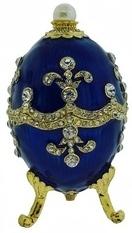 Kubla Crafts Bejeweled Enamel KUB 0-3154 Blue Egg Large Box