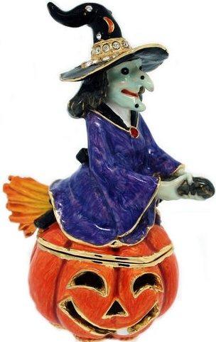 Kubla Crafts Bejeweled Enamel KUB 0-3302 Witch Jack O Lantern Box