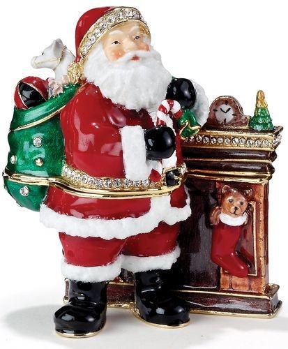 Kubla Crafts Bejeweled Enamel KUB 0-3469 Santa Fireplace Box