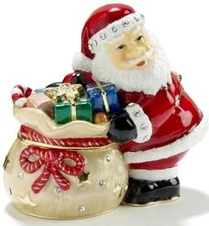 Kubla Crafts Bejeweled Enamel KUB 0-3611 Santa with Gift Bag Box