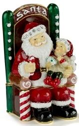 Kubla Crafts Bejeweled Enamel KUB 0-3615 Santa with Child Box