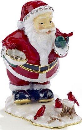 Kubla Crafts Bejeweled Enamel KUB 0-3626 Santa with Cardinals Box