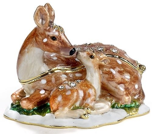 Kubla Crafts Bejeweled Enamel KUB 0-3639 Deer and Fawn Box