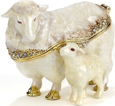 Kubla Crafts Bejeweled Enamel KUB 0-3672 Sheep and Baby Box