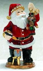Kubla Crafts Bejeweled Enamel KUB 0-3757 Santa with Nutcracker Box