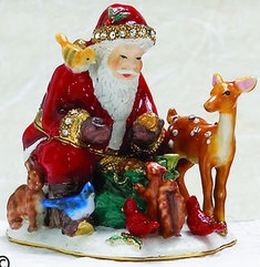 Kubla Crafts Bejeweled Enamel KUB 0-3758 Santa with Animals Box