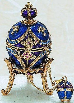 Kubla Crafts Bejeweled Enamel KUB 0-3760 Egg Box and Necklace