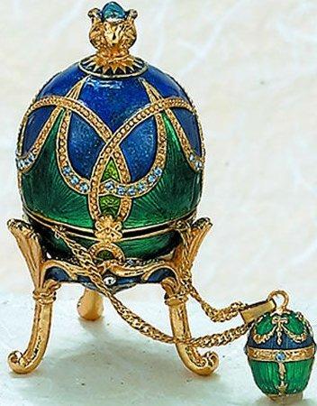 Kubla Crafts Bejeweled Enamel KUB 0-3761 Aqua Blue Egg Box and Necklace