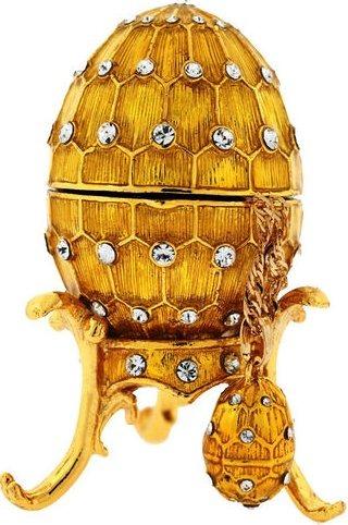 Kubla Crafts Bejeweled Enamel KUB 0-3776 Gold Egg Box with Necklace