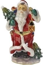 Kubla Crafts Bejeweled Enamel KUB 0-3782 Santa with Lantern Box