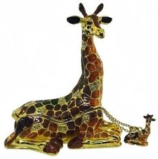 Kubla Crafts Bejeweled Enamel KUB 0-3813GN Giraffe Box and Necklace